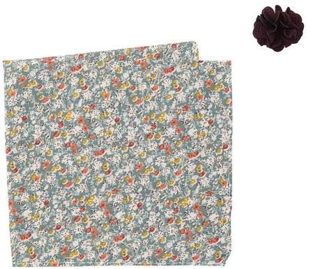 Original Penguin Sommers Floral Lapel Pin & Pocket Square Set