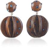 Rebecca de Ravenel Ginevra Dark Wood and Denim Earrings