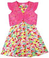 Nannette Girls 4-6x Nanette Print Scuba Dress with Lace Shrug