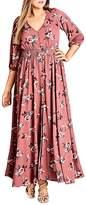 City Chic Rose-Print Maxi Dress
