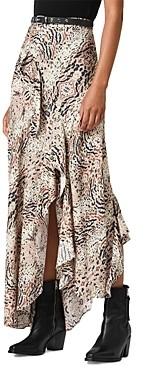 AllSaints Raya Arietta Animal Print Ruffled Skirt
