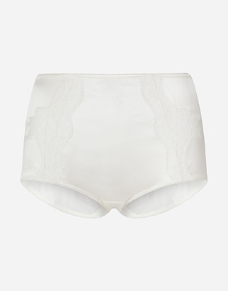 Dolce & Gabbana Satin High-Waisted Panties With Lace