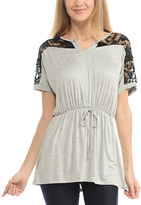 Celeste Heather Gray Lace-Accent Drawstring Tunic