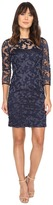Aidan Mattox Long Sleeve Embroidered Mesh Cocktail Dress with Boat Neck