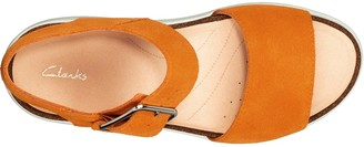 Clarks Botanic Strap Leather Wedge Sandal - Amber
