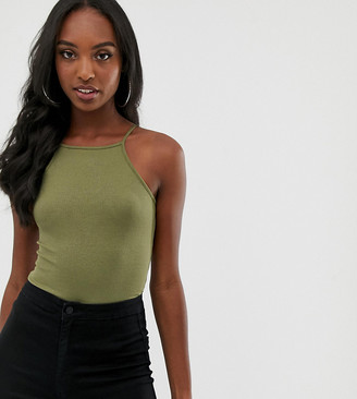 Asos Tall DESIGN Tall high square neck sleeveless body in khaki-Green