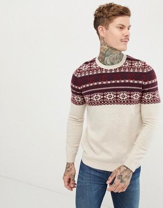 ASOS DESIGN lambswool blend fairisle sweater in beige