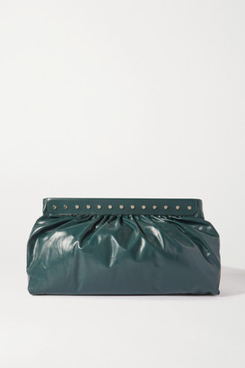 Isabel Marant Luz Studded Leather Clutch - Dark green