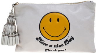 Anya Hindmarch White Leather Have a nice Day Georgiana Clutch