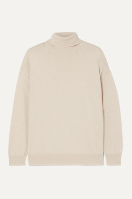 Brunello Cucinelli Bead-embellished Cashmere Turtleneck Sweater - Beige