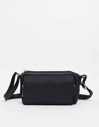 ASOS DESIGN cross body canvas bag with zips in black