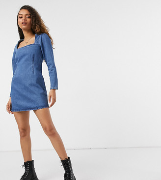 ASOS DESIGN Petite split sleeve mini dress in lightwash