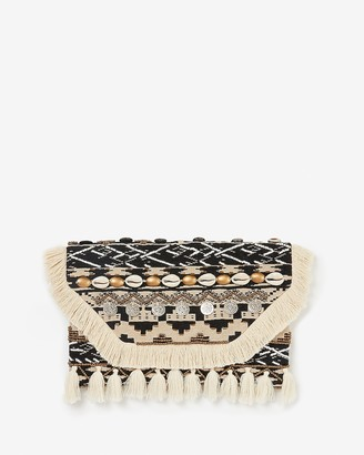 Express Embellished Puka Shell Coin Clutch