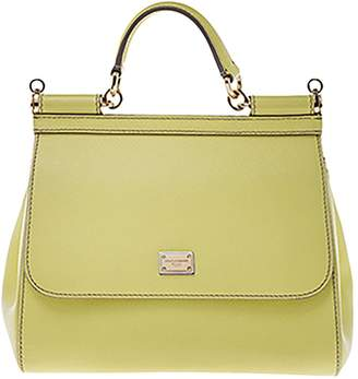 Dolce & Gabbana Sicily Yellow Leather Handbags