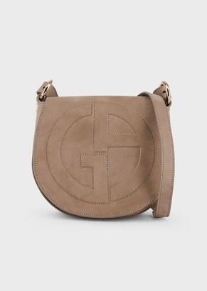 Giorgio Armani Suede Shoulder Bag With Embossed Ga Logo