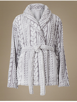 M&S Collection Tie Front Cable Knit Dressing Gown