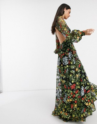 ASOS EDITION summer floral embroidered maxi dress with open back