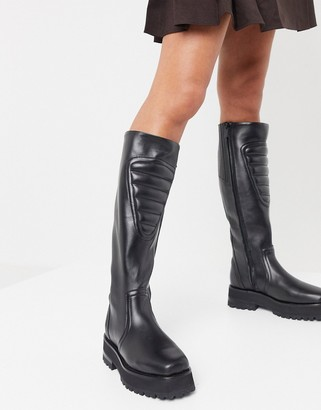 And other stories & leather panelled chunky sole boots in black