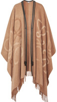 Loewe Reversible Leather-trimmed Wool And Cashmere-blend Cape - Beige