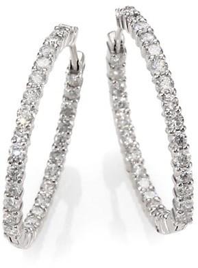 """Roberto Coin 18K White Gold & Diamond Hoop Earrings/1.2"""""""