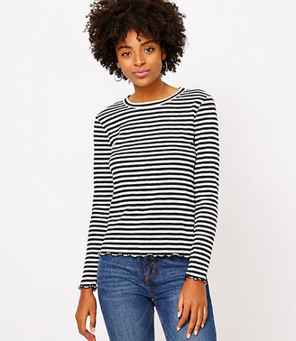 LOFT Striped Ruffle Trim Long Sleeve Tee