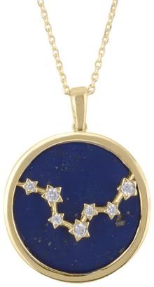 Lapis Zodiac Lazuli Gemstone Star Constellation Pendant Necklace Gold Pisces