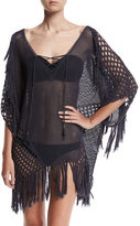 Suboo New Romantics Crocheted Caftan Coverup with Fringe, Charcoal