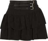 Maje Flux belted crepe mini skirt