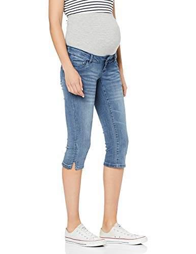 61ef4672b726 Mamalicious Women's Mlgolden Slim Capri A. Maternity Trousers, Light Blue  Denim, (Size: 32)