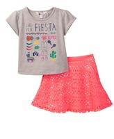 Petit Lem Top & Laser-Cut Skirt Set (Toddler & Little Girls)
