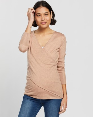 Angel Maternity Women's Nude Long Sleeve Tops - Merino Wool Knit Long Sleeve Top - Size One Size, XS at The Iconic