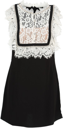 Self-Portrait Monochrome Fine Lace Crepe Mini Dress