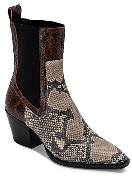 Dolce Vita Women's Sabern Square Toe Stretch Panel Leather Booties