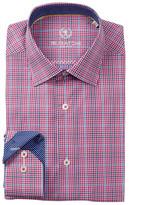 Bugatchi Woven Plaid Trim Fit Dress Shirt