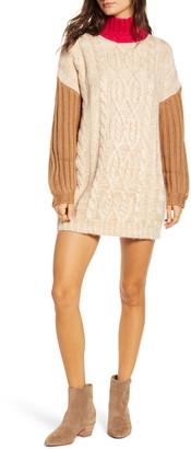 Moon River Colorblock Mock Neck Sweater Dress