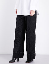 Maison Margiela Wide cropped high-rise wool-blend satin trousers