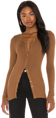 Enza Costa Silk Rib Fitted Long Sleeve Cardigan