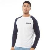 Jack And Jones JACK AND JONES Mens Brian Long Sleeve T-Shirt Sky Captain/White