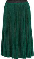 Vanessa Bruno Flo Plissé Metallic Stretch-knit Skirt - Green