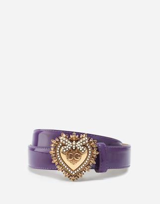 Dolce & Gabbana Devotion Belt In Polished Calfskin