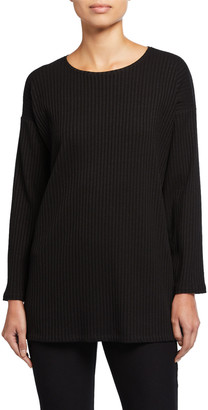 Eileen Fisher Crewneck Angled Bracelet-Sleeve Side-Slit Rib Tunic