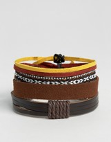 Asos Faux Leather And Woven Bracelet Pack In Brown