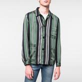 Paul Smith Men's Green Cotton-Silk Pyjama-Stripe Chore Jacket