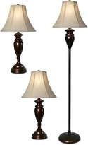 Stylecraft Set of 3 Dunbrook Finish Lamps: 1 Floor Lamp & 2 Table Lamps