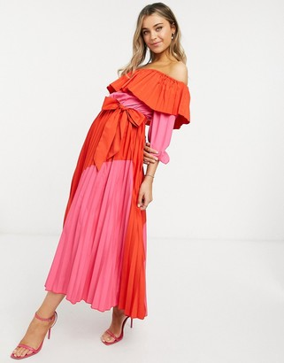 NEVER FULLY DRESSED pleated off-shoulder contrast dress in pink and red