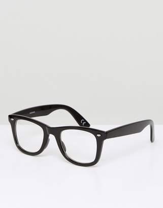 clear Asos Design ASOS DESIGN square glasses in black with lens