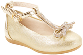 Pampili Gold Bow-Accent T-Strap Ballet Flat