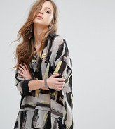 Religion Sheer Shirt Dress In Abstract Print