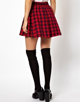 Asos Full Skater Skirt in Brushed Plaid Check