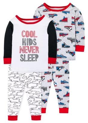 Little Star Organic Baby Toddler Boy Snug Fit Cotton Long Sleeve Pajamas, 4pc Set